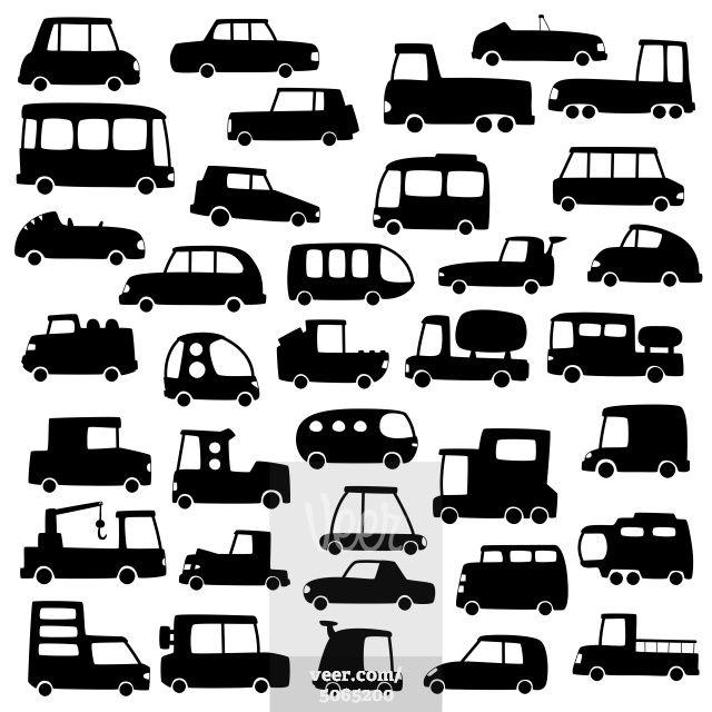set of cartoon cars silhouettes Stock Photo