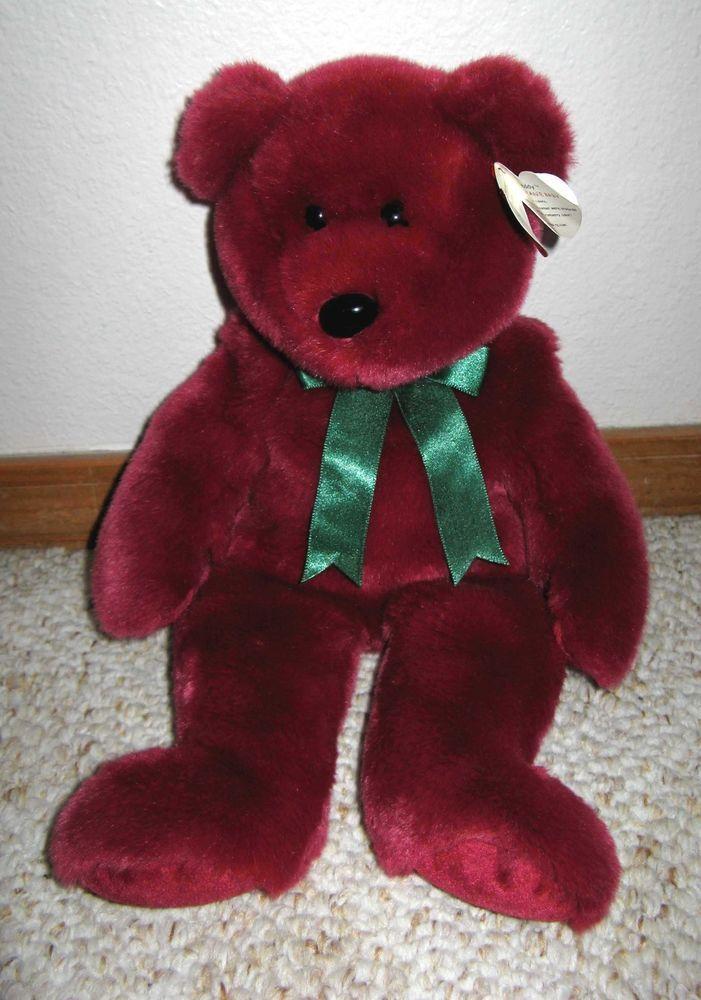 Very Rare Ty Cranberry Teddy the Beanie Baby Original Buddy Plush Bear 13