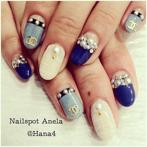 @moannu のNEW Nail! #chanel #シャネル #パール #デニム #paint #paintart #paintarts #art #handpaint #手描きアート #nail #nails #nailart #nailarts #nailswag #nailartclub #nailspotanela #ネイル #ネイルアート #goocy #swarovski #kirakira #instanail #instanails #instanailart #japanesenail nails by #hana4
