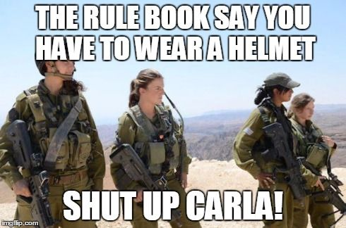 THE RULE BOOK SAY YOU HAVE TO WEAR A HELMET SHUT UP CARLA! | image tagged in carla and friends | made w/ Imgflip meme maker