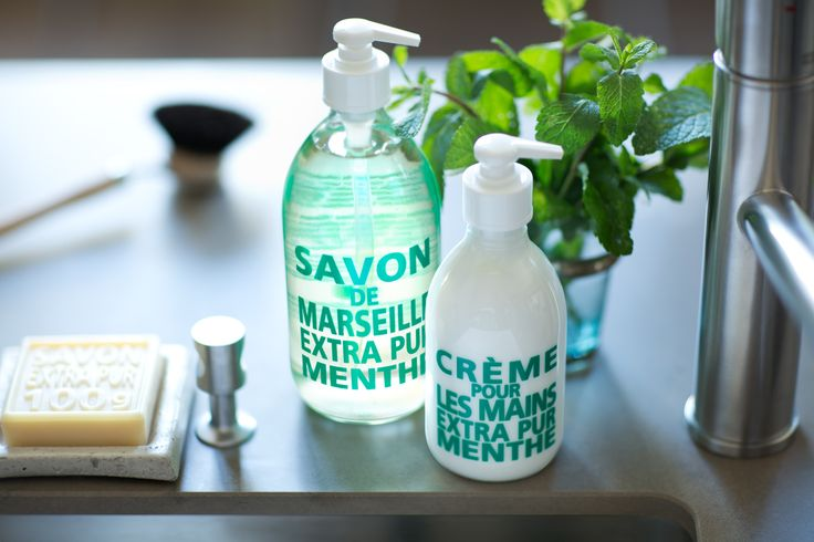Extra Pur Fresh Mint by Compagnie de Provence. Liquid soap and Hand cream.  Toiletries - Marseille soap - Savon de Marseille - Art Direction by http://www.centquarantedeux.com/