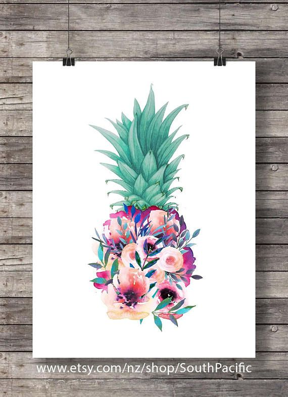 Printable Art Print Flowers Pineapple Aloha Tropical Island Decor Watercolor Wall Art Hawaii Beach Pineapple Decor Housewarming Gift