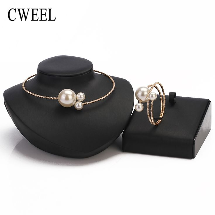 Simulated Pearl Necklaces Women Accessories Platinum Plated European Big Brand Torques Jewelry Set Party Fashion All Match Color