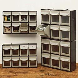 "Keep small parts and hardware handy with the Garrett Wade ""Flip Out"" Stackable Bins in the workshop or craftroom."