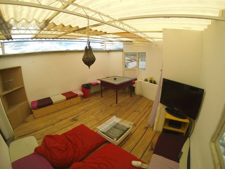Cozy nice and quiet roof terrace. Perfect for watching a movie.