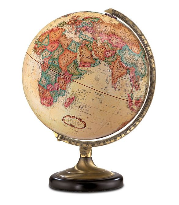 replogle sierra desktop world globe with antique brass and black metal base and 12