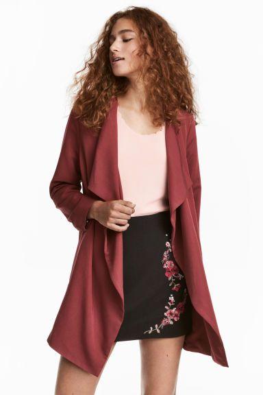 Abrigo drapeado - Rojo oscuro - MUJER | H&M ES 1