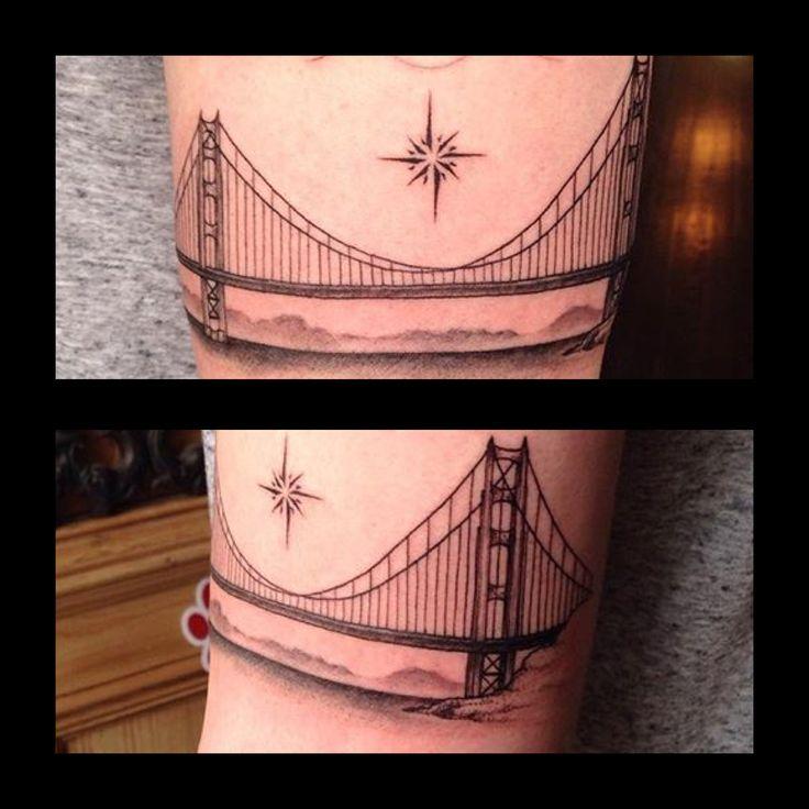 The Golden Gate Bridge with the North Star, tattoo by Kelly #blackink #bridges #stars #prophecyink #tattooshopsinlouisville #derby2017