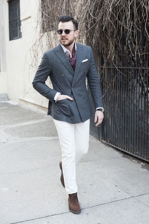 Charcoal Dress Pants Brown Shoes