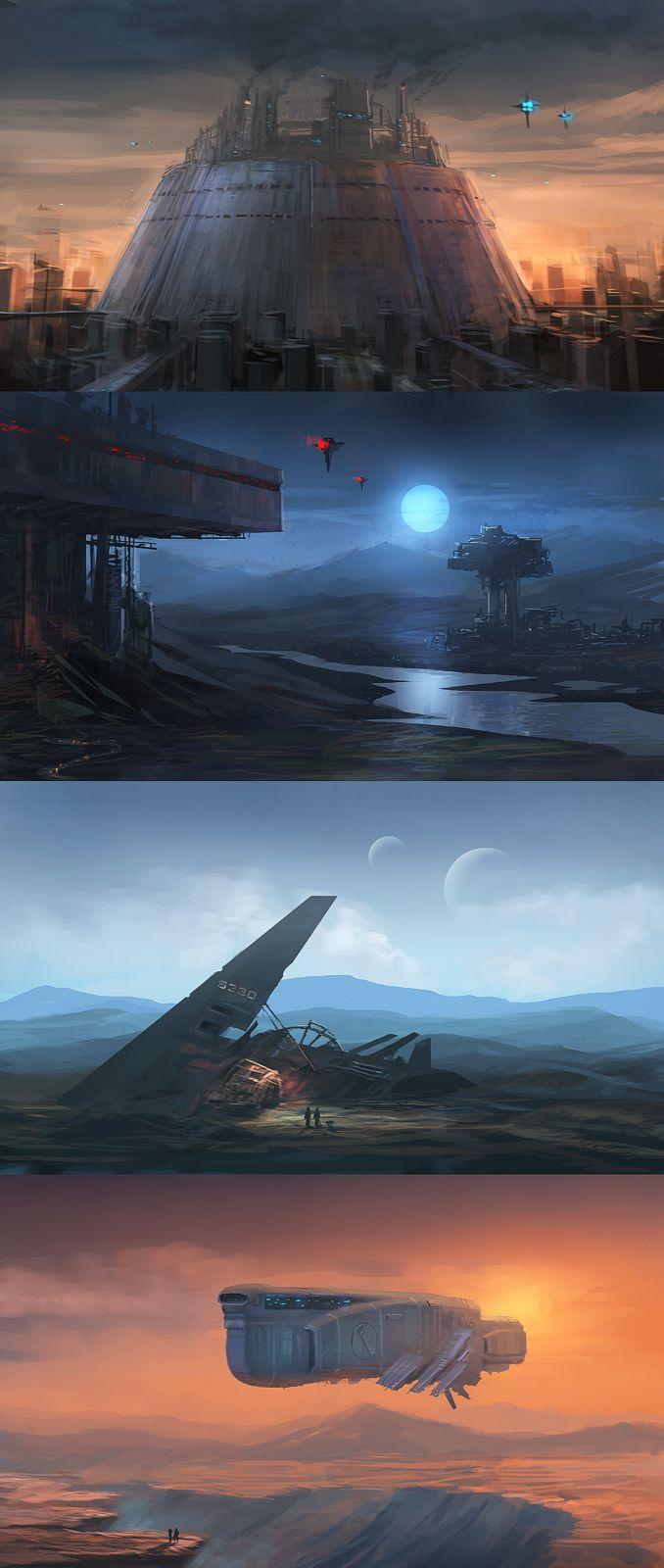 quick sci fi paintings by alex-ichim