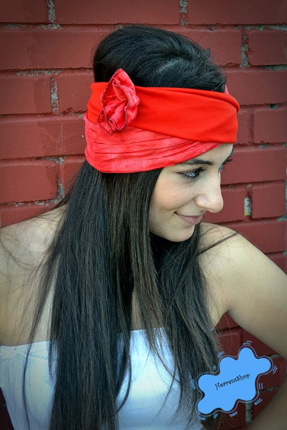 Red Coral Headband Jersey Turban With Flower by HeavensShop, €14.50