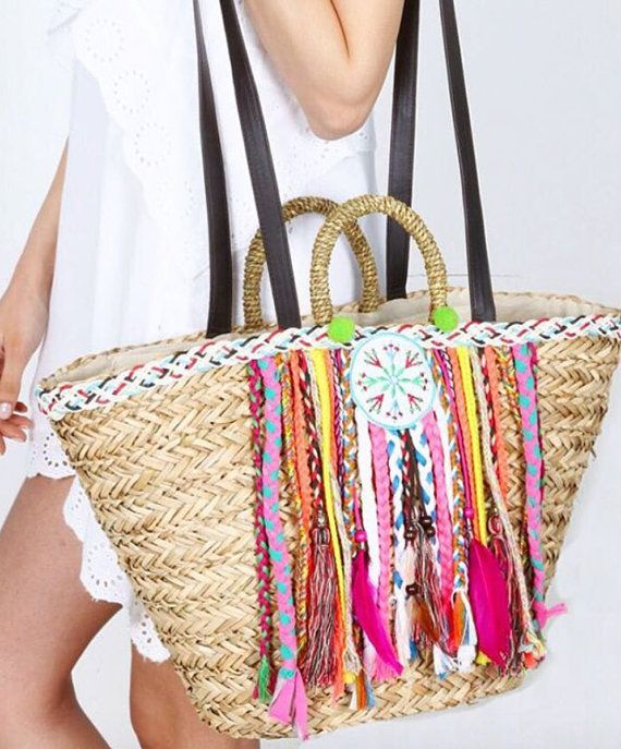 Straw Bag with pompoms beach bag basket bag by karissagr on Etsy