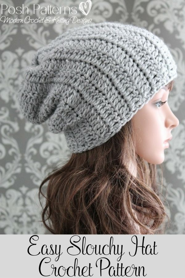 Crochet Pattern - An easy and fun crochet slouchy hat pattern for all ages and genders. A perfect accessory for kids, teens, women and men. By Posh Patterns.