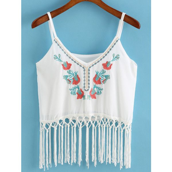 Spaghetti Strap With Tassel Embroidered White Cami Top (278.510 VND) ❤ liked on Polyvore featuring tops, white, vest top, cami tank, white camisole, white top and white spaghetti strap tank top