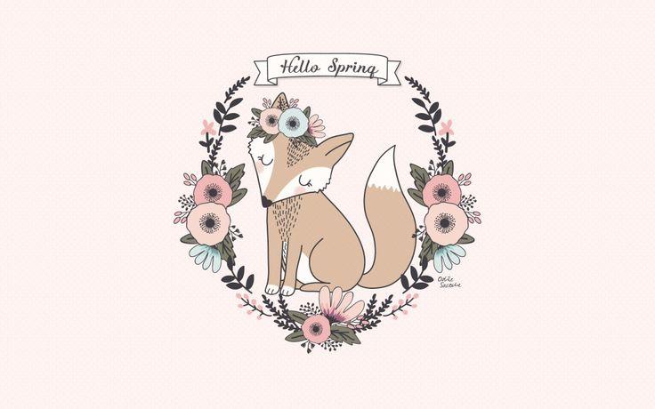 Wallpaper desktop Spring Fox // fond d'écran Renard /// illustration renard