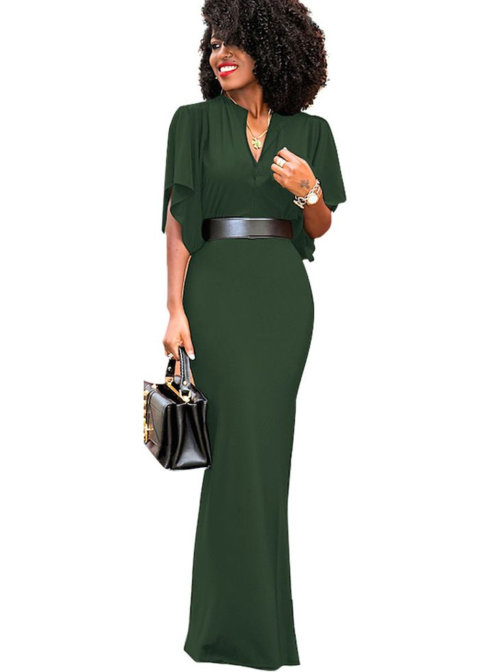 Do it up big, or dress it down on the daily ... the V Neck Batwing Sleeve Women's Maxi Dress always looks good!