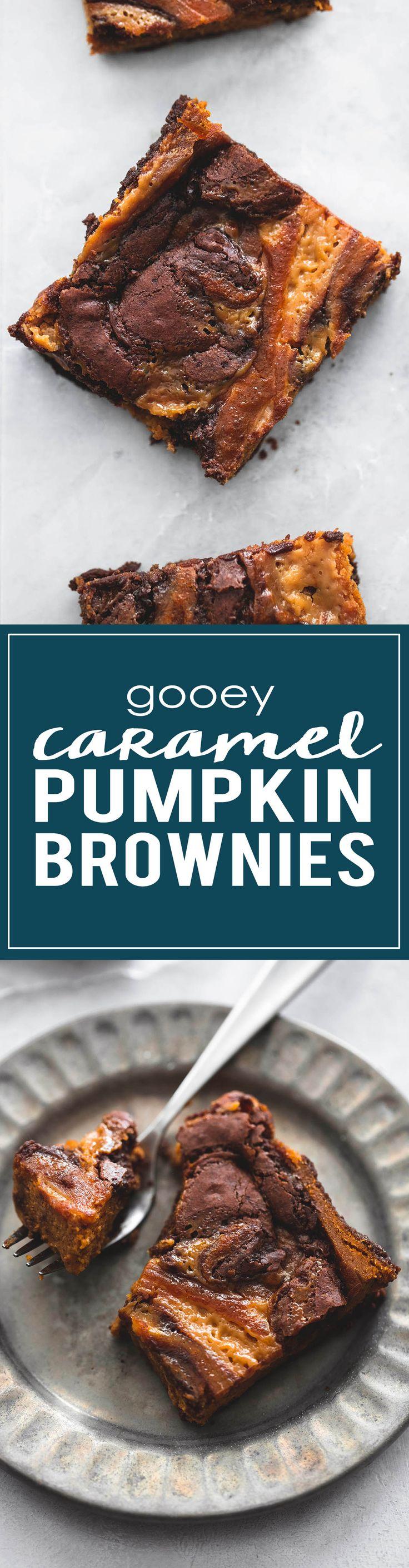 Gooey Caramel Pumpkin Brownies | lecremedelacrumb.com
