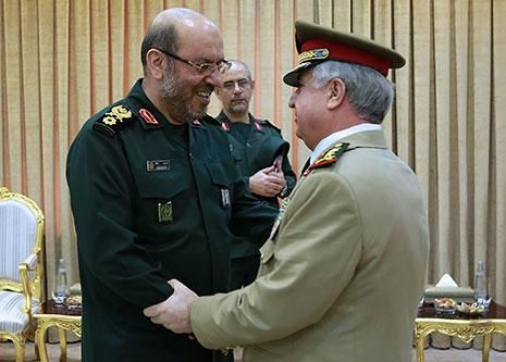 Syrian victory at hand; Axis of the Sanctioned #Russia #Iran #Syria | Picture: Lt. Gen. 'Ali 'Abdullah Ayyoob, Chief of the Syrian General Staff, is greeted by Iranian Defense Minister, Hussayn Dhihqaan.