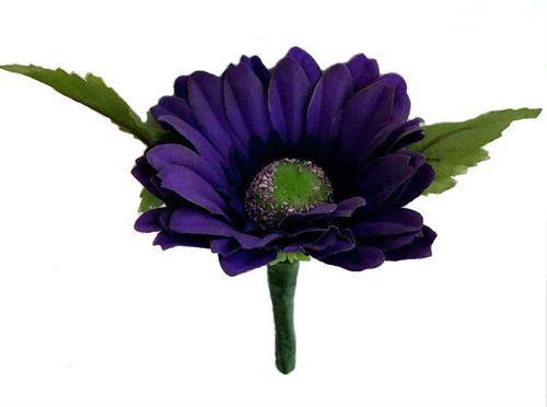 Purple Silk Daisy Boutonniere - Groom Boutonniere Prom