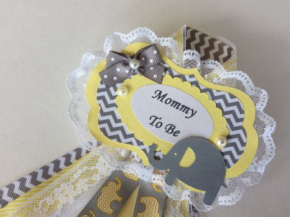 Elephant baby shower corsage/Neutral baby shower