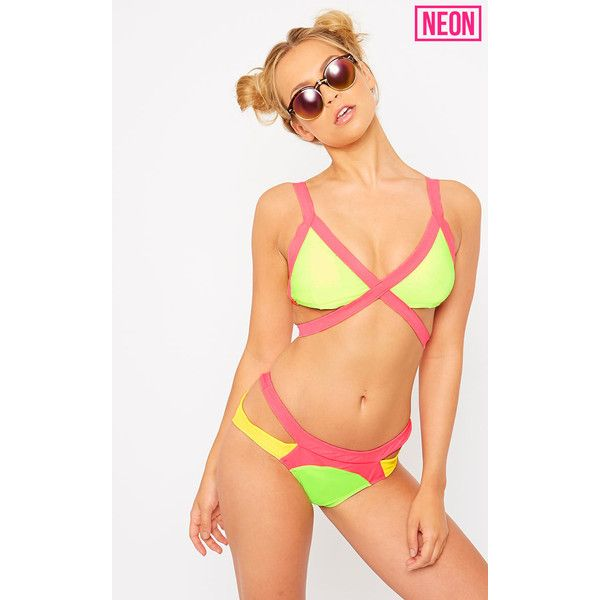 Brinkley Neon Green Multi Colour Strap Wrap Bikini Top (14 AUD) ❤ liked on Polyvore featuring swimwear, bikinis, bikini tops, green, swim tops, strappy bikini, swimsuit tops, neon green bikini top and beach wear