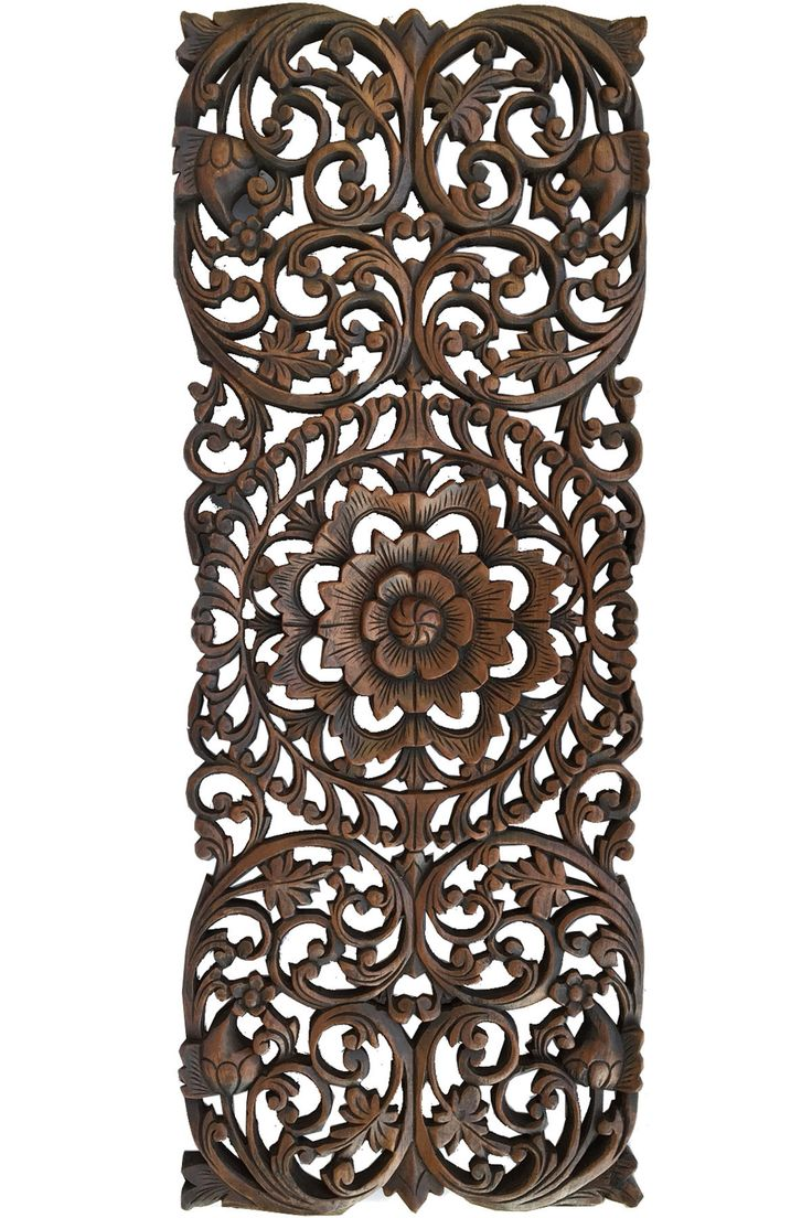 Floral Tropical Carved Wood Wall Panel. Asian Wall Art Home Decor. Large  Wood Wall Plaque. 35.5