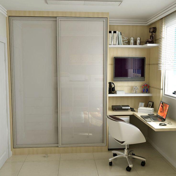 quarto pequeno dividido em quarto com drywall closet e  ~ Quarto Planejado Pequeno Casal Com Closet