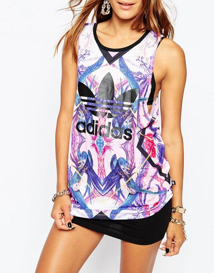 Adidas | Adidas Originals - Florera - Débardeur à fleurs abstraites et logo trèfle chez ASOS