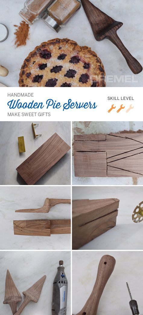 DIY wooden pie servers make the sweetest hostess gift, bridal shower gift, wedding gift, you name it.
