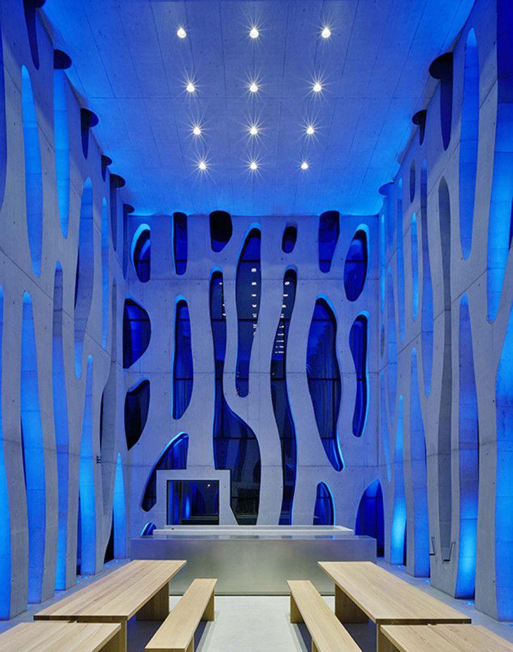 Futuristic Led House Design Illuminated Nordwesthaus Blue Interior - pictures, photos, images