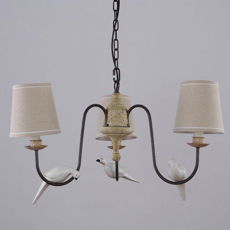 3 Arm Licht Retro Schne Kronleuchter Treppen Wohnzimmer Lampe Harz Vgel Eisen Weiss Stoff Lampenschirm Leuchte