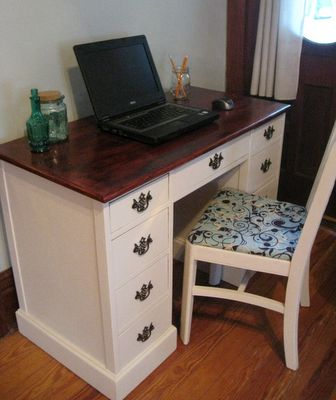 "Remodelaholic | Old Writers Desk & Chair Remodel BEAUTIFUL...now just need to find a tutorial for turning the top drawers into a wide keyboard drawer. (I""m NOT  a carpenter!) Comment with link if you know of one!"