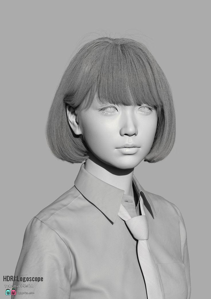 realistic character rendering by Yuka Ishikawa and Teruyuki Ishikawa, using Autodesk Maya, ZBrush, MARI, Quixel 2.0, Photoshop, Shave and Haircuts, Nuke, Vray