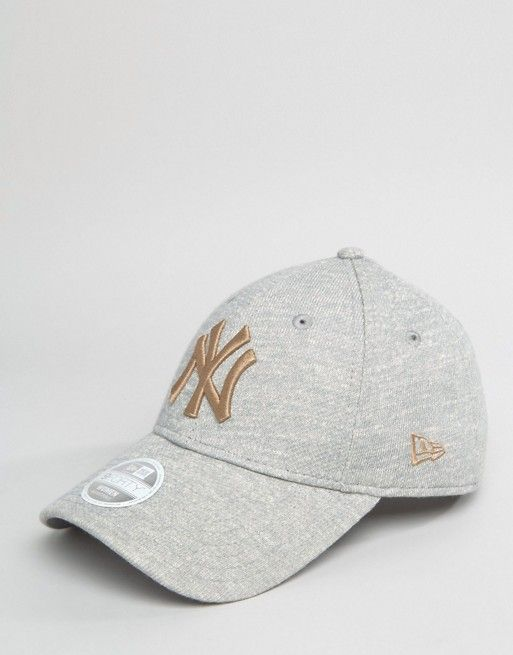 New Era 9Forty Cap in Gray Marl with Gold Embroidery