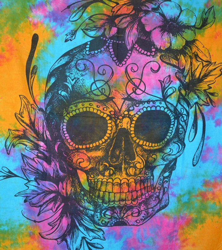 Twin Human Skull Tapestries Grateful dead psychedelic Tapestry Wall hanging Art #Unbranded #ArtDecoStyle