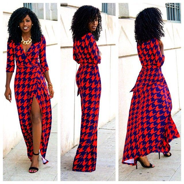 Houndstooth Wrap Maxi Dress