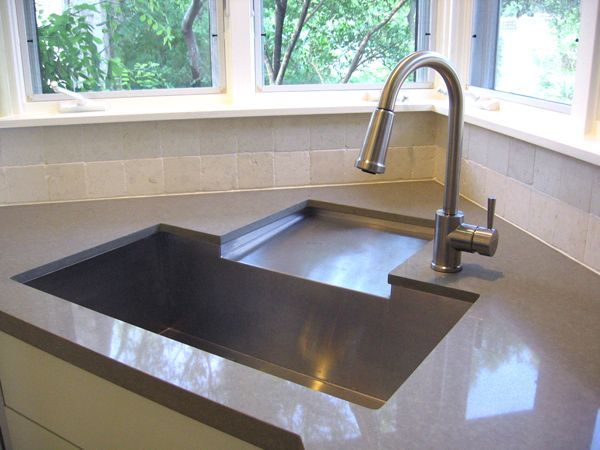 Innovative Corner Sink Idea Drainboard To Rear Sink Fabricated By Julien Through Ferguson Minimalist Kitchen Sinks Kitchen Sink Design Kitchen Sink Remodel