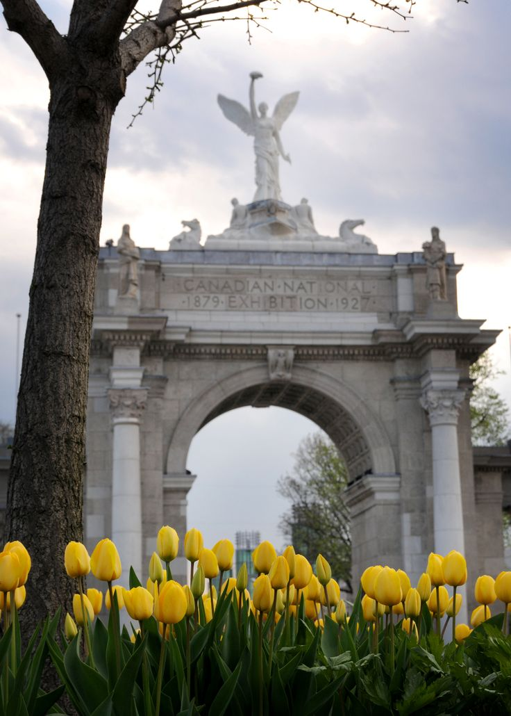 Canadian National Exhibition entrance through the tulips