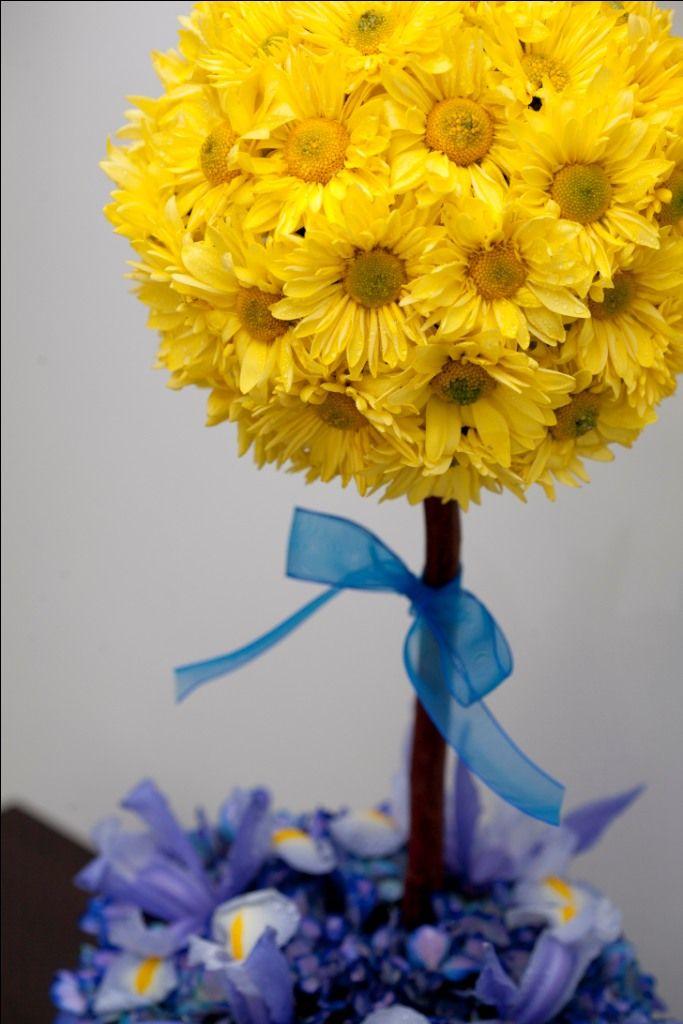 Topiario de margaritas amarillas y hortensias azules.  De Florenza Floristería Boutique