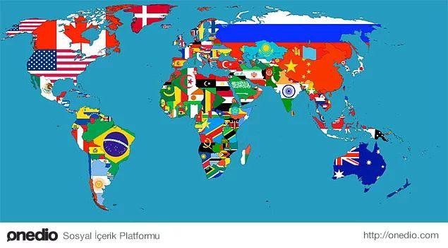 Dünya bayrak haritası.