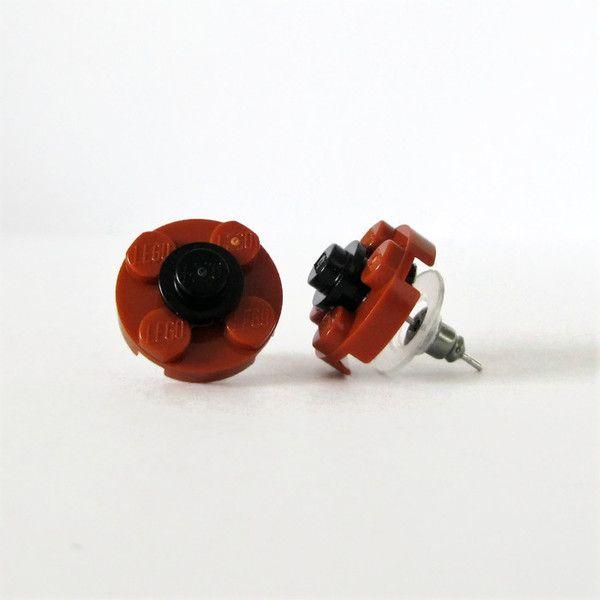 Σκουλαρίκια λουλούδια από τουβλάκια Σκούρο πορτοκαλί - Μαύρο