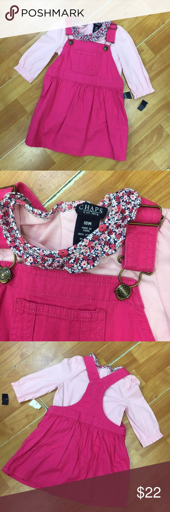 Chaps Pink Jumper Bodysuit NEW NWT 18 Mo Chaps Pink Jumper Bodysuit NEW NWT 18 Mo  Cute pink woven jumper with light pink bodysuit.  Floral trim.  New with tags.  #chaps #jumper #outfit #set #new #nwt #pink Chaps Dresses