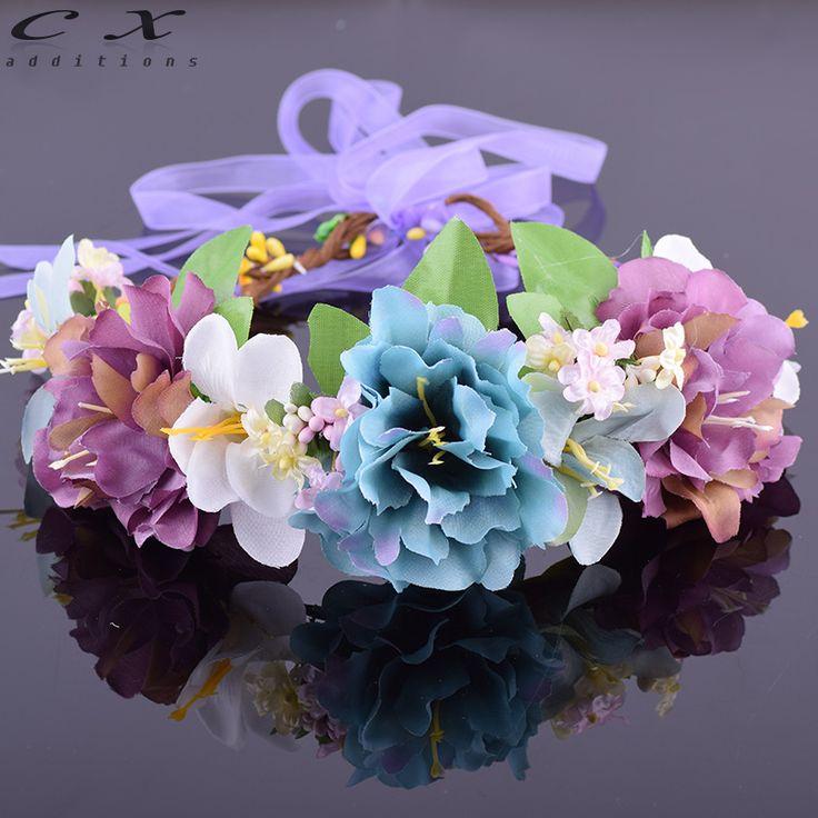 Gypsophila Paniculata Lilies Peony Flower Leafy Halo Bridal Floral Crown Hair Wreath Head Wreath Wedding Headpiece Bridesmaid