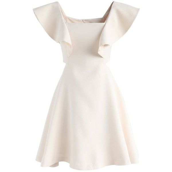 Chicwish Dance with Sweet Ruffled Dress in Cream ($60) ❤ liked on Polyvore featuring dresses, beige, white dresses, white slip, ruffle cocktail dress, white going out dresses and going out dresses