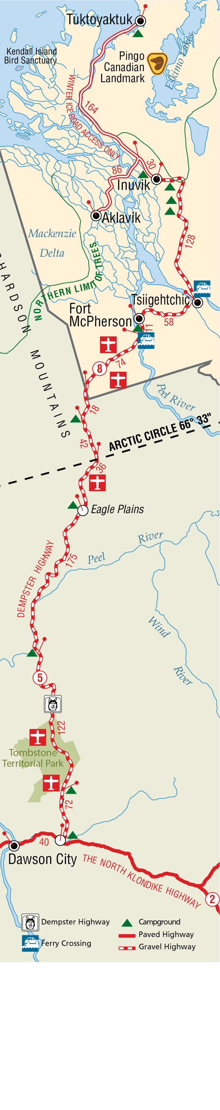 Detailed Dempster Highway Map