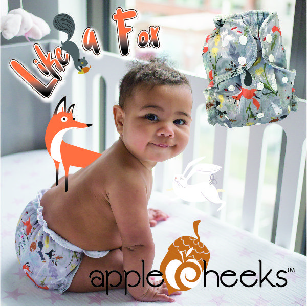 New from AppleCheeks cloth diapers, year of the prints, #8 Like a Fox. Available in all size diapers and sacks as well as a swim diaper.