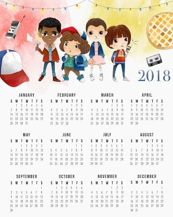 Calendario 2018 de Stranger Things para Imprimir Gratis.