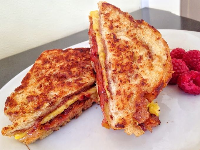 In Oshkosh, Wis., Brayton Bed and Breakfast serves a Breakfast Grilled Cheese with Cinnamon Bread, Raspberry Jalapeño Jam, Mango Fire White Cheddar Cheese, Applewood smoked pepper bacon, maple syrup and local organic eggs.