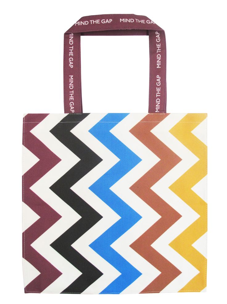 'Lines for all Seasons' tote bag designed by Michelle Mason. Inspired by Underground tube line colours.