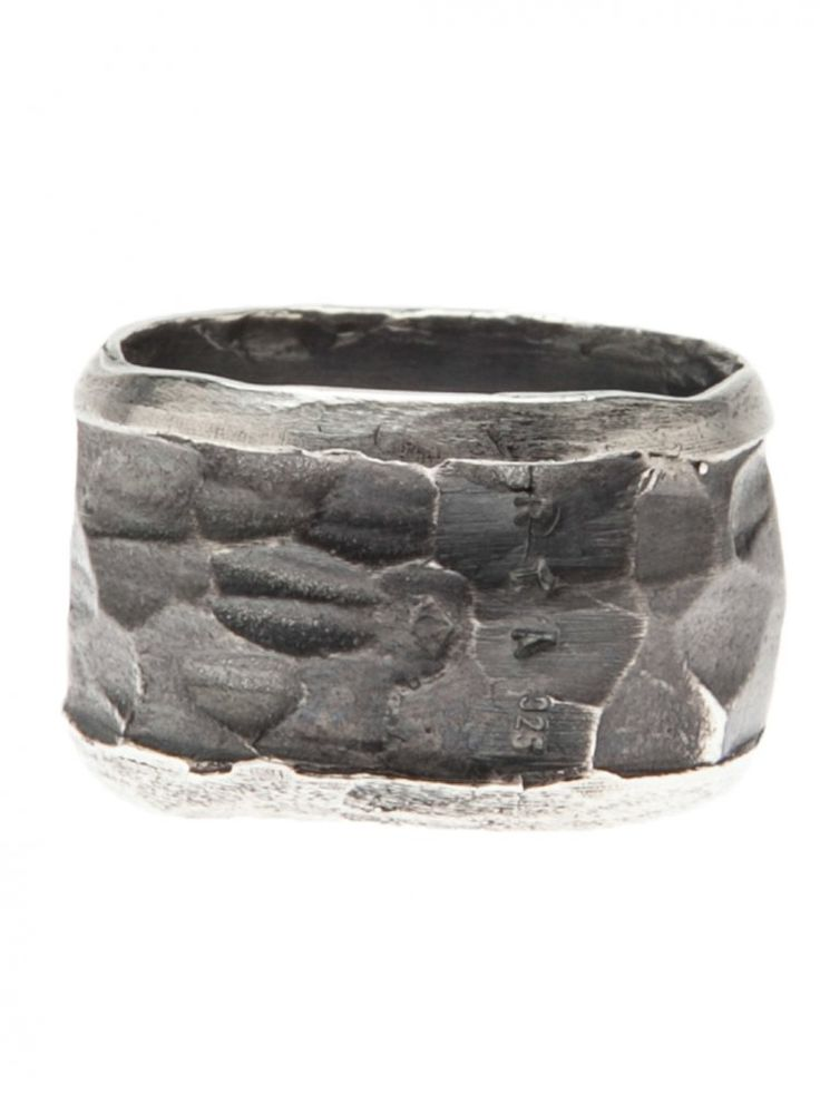 RENE TALMON L'ARMEE - Silver Hammered Band Ring - ALPA BROAD MULTI FACET SILVER - H. Lorenzo